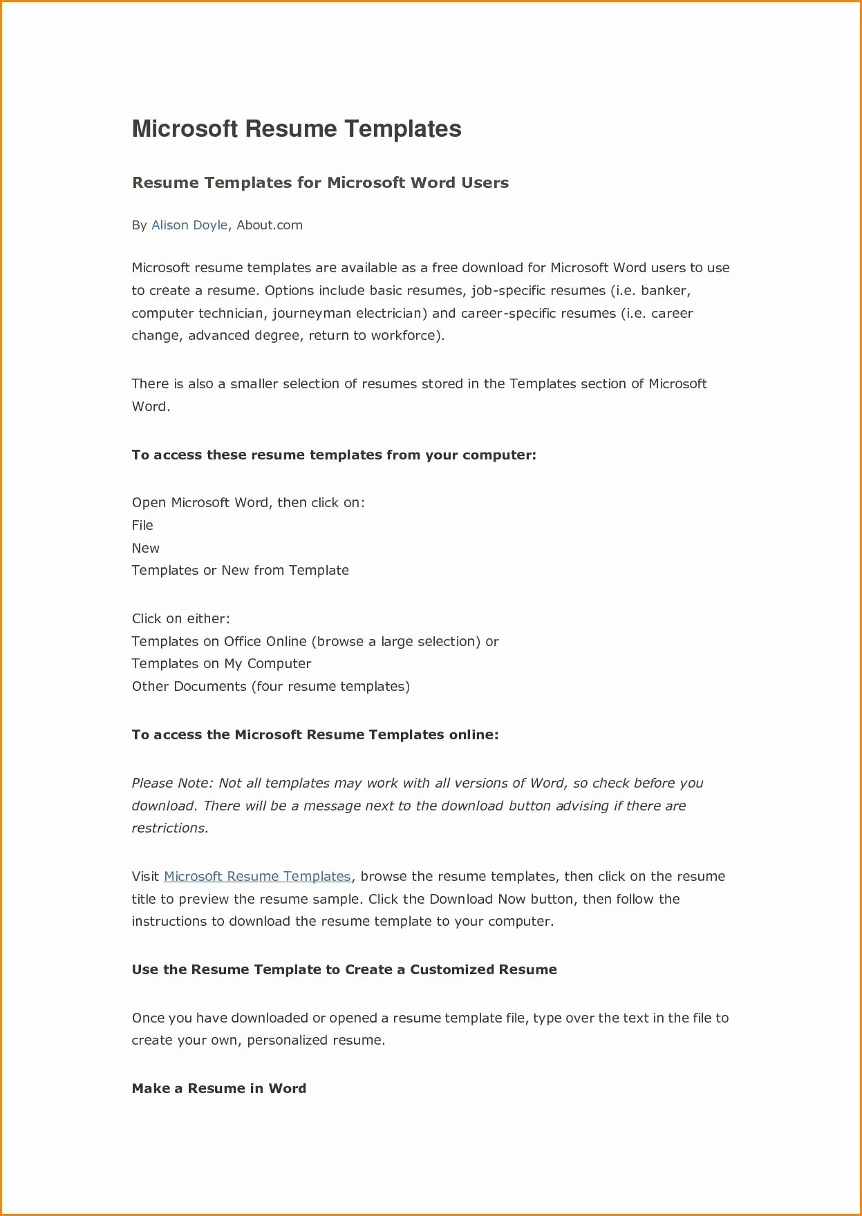 Best Ms Word Resume Template Awesome 46 Basic Microsoft Fice Resume Zi A – Resume Samples