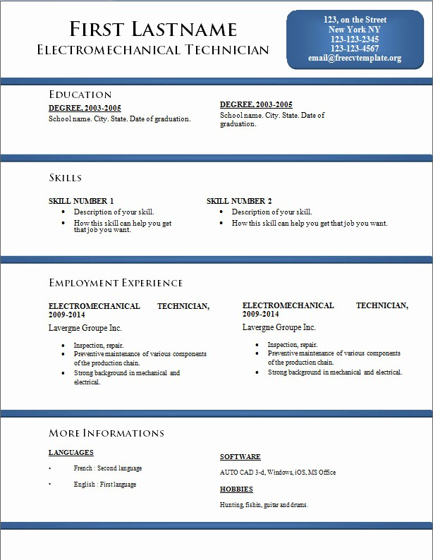 Best Ms Word Resume Templates New Free Cv Resume Templates 170 to 176 – Free Cv Template