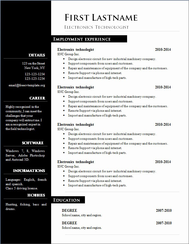 Best Ms Word Resume Templates Unique Free Cv Template 303 to 309 – Free Cv Template Dot org