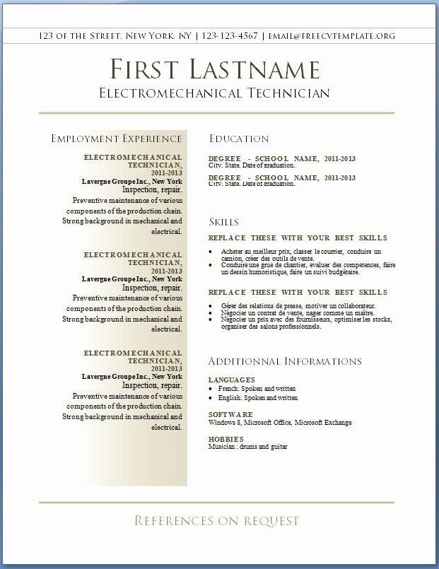 Best Resume Template Microsoft Word Luxury Free Cv Templates 36 to 42 – Free Cv Template Dot org