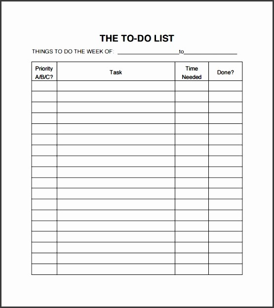Best to Do List format Unique 10 Business to Do List Template Sampletemplatess