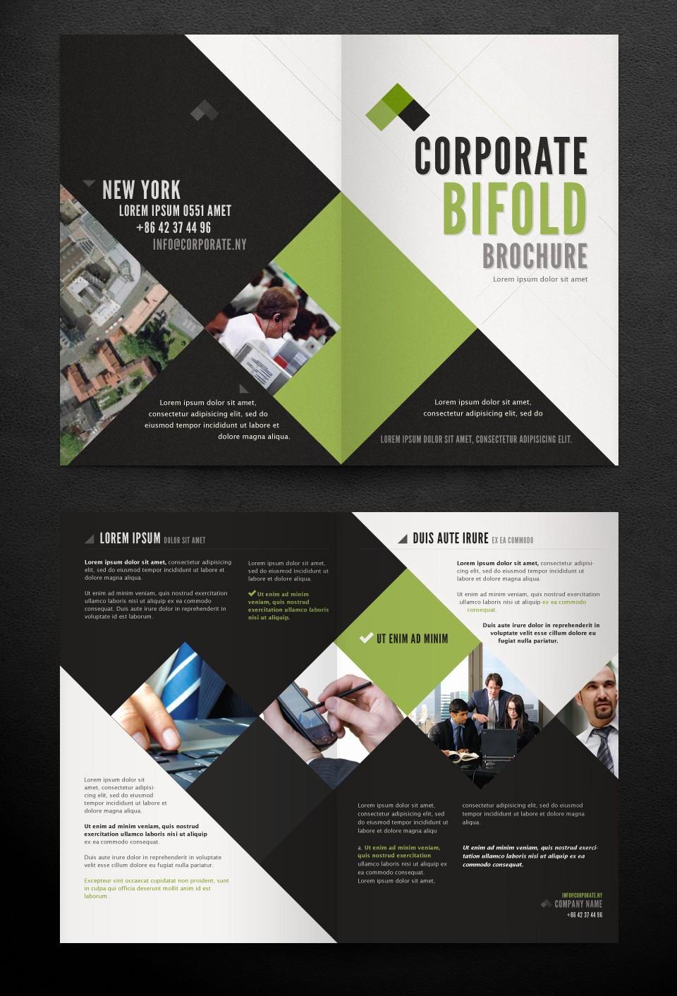 Bi-fold Brochure Template Awesome Corporate Bi Fold Brochure Template