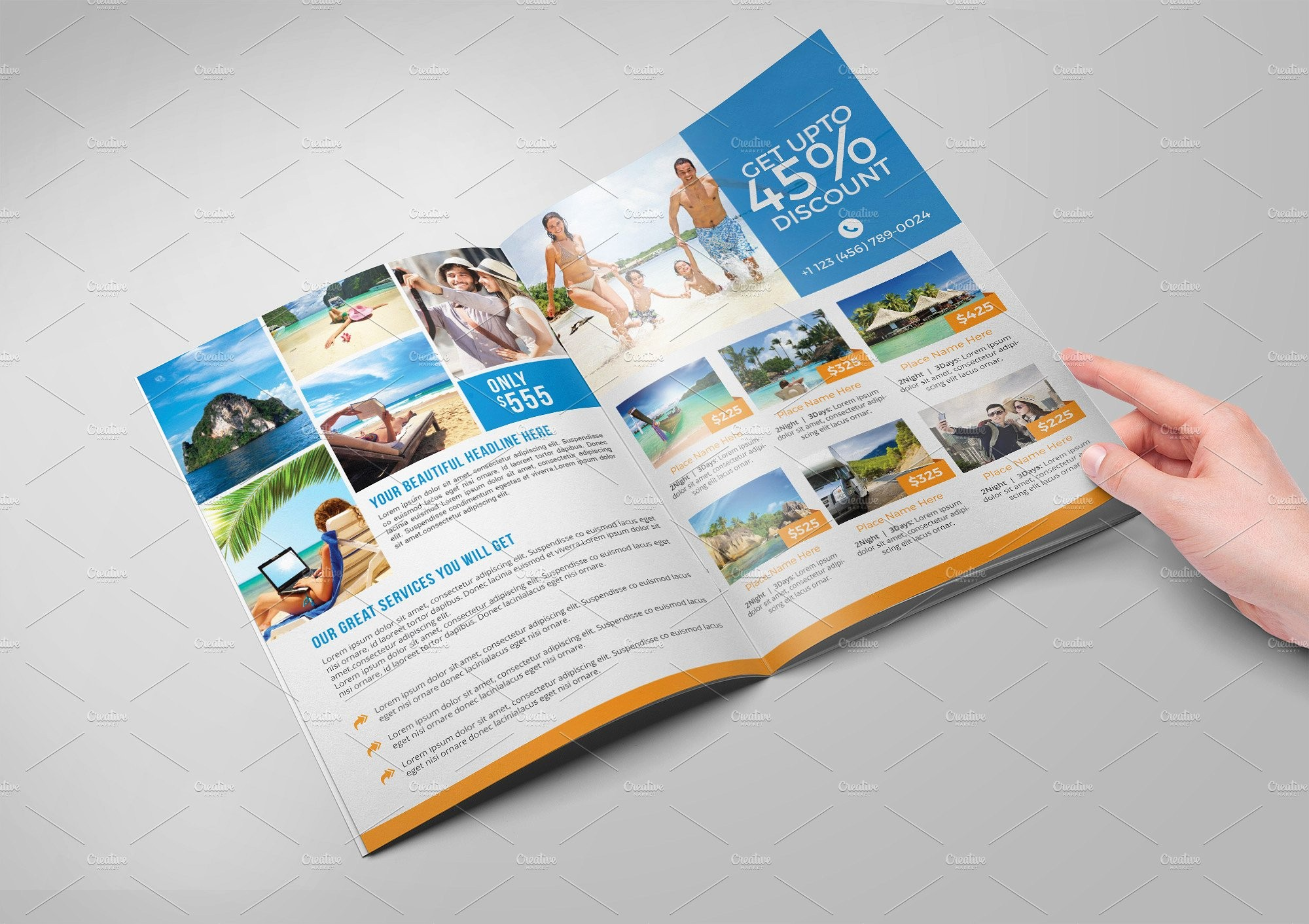 Bi-fold Brochure Template Awesome Travel Agency Bi Fold Brochure Brochure Templates