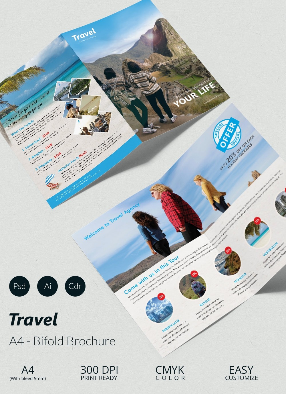 Bi-fold Brochure Template Beautiful 43 Travel Brochure Templates Free Sample Example
