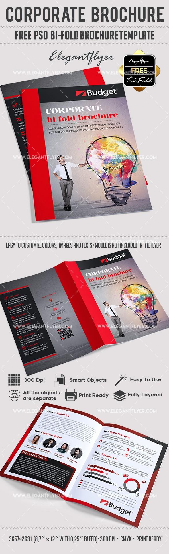 Bi-fold Brochure Template Beautiful Corporate – Free Psd Bi Fold Psd Brochure Template – by