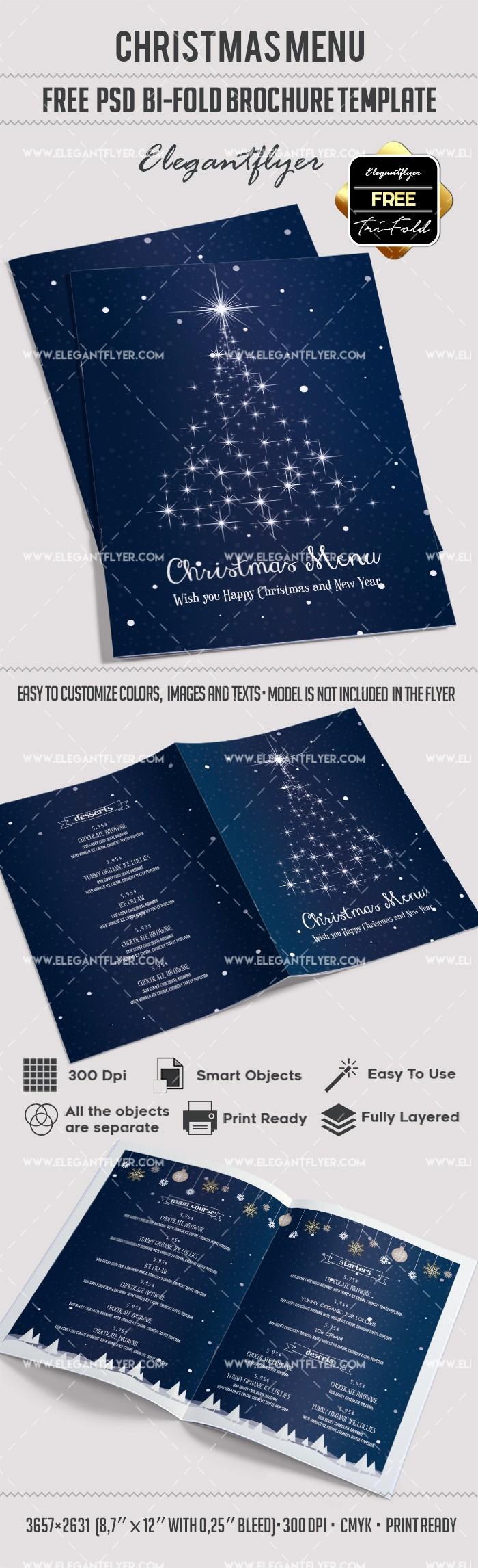 Bi-fold Brochure Template Fresh Free Christmas Menu – Bi Fold Psd Brochure Template – by