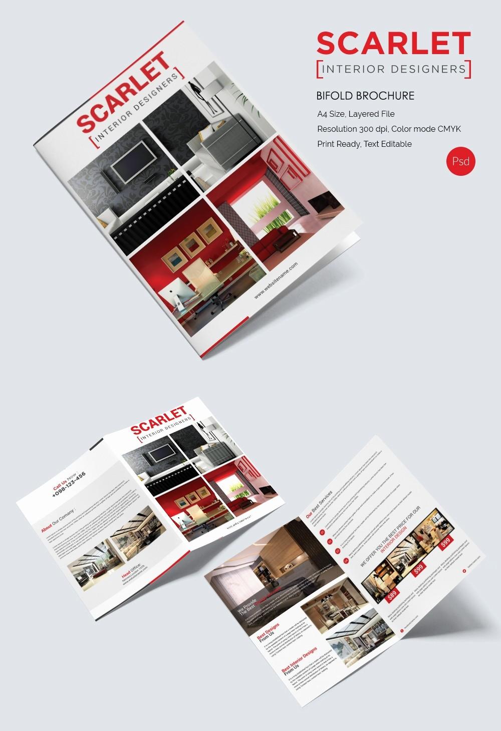 Bi-fold Brochure Template Inspirational 17 Interior Decoration Brochure – Free Word Psd Pdf