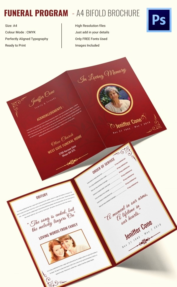 Bi-fold Brochure Template Inspirational 30 Funeral Program Brochure Templates – Free Word Psd