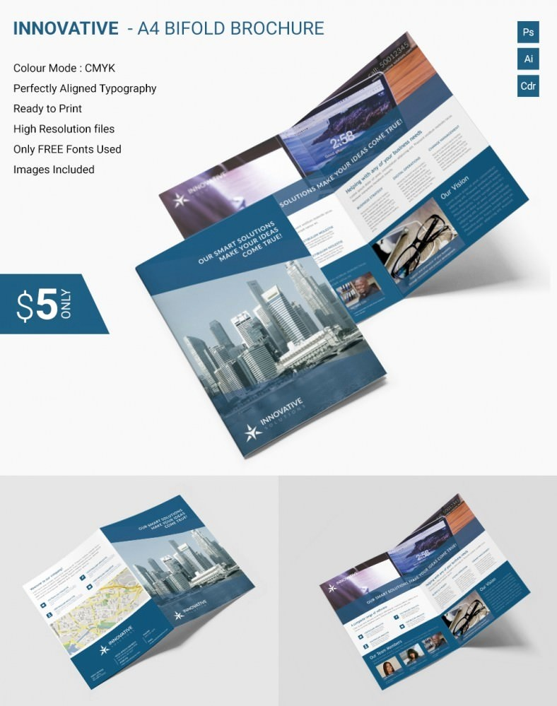 Bi-fold Brochure Template Lovely Elegant Innovative A4 Bi Fold Brochure Template
