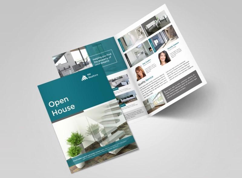 Bi-fold Brochure Template Lovely Teal Open House Bi Fold Brochure Template