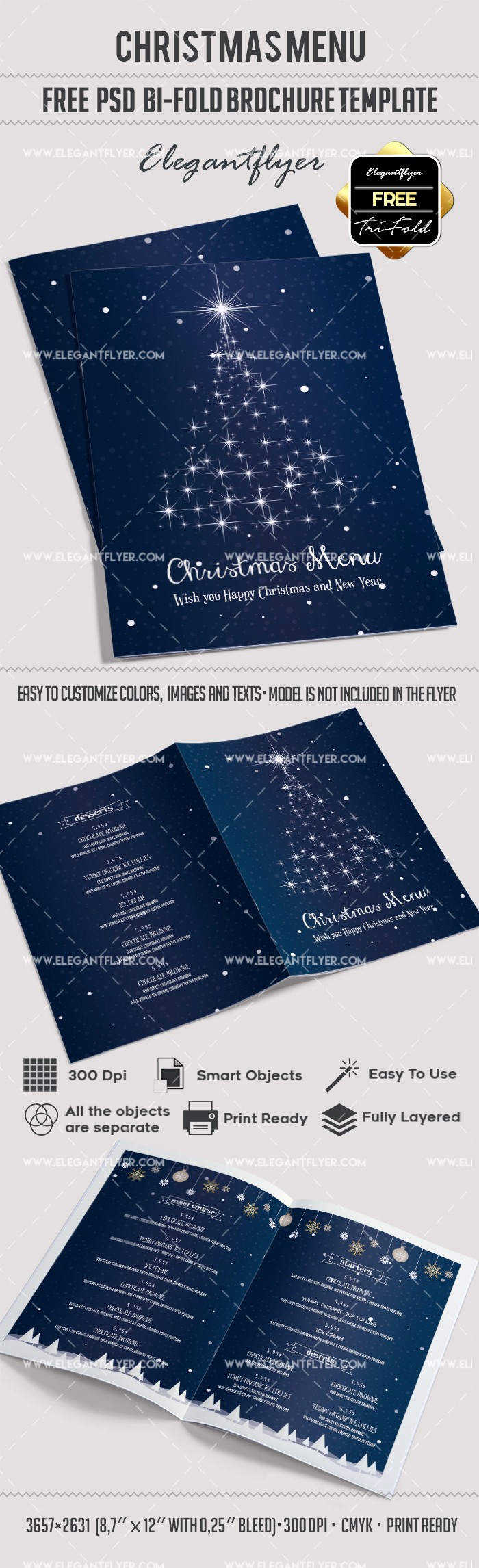 Bi Fold Brochure Templates Free Lovely Free Christmas Menu – Bi Fold Psd Brochure Template – by