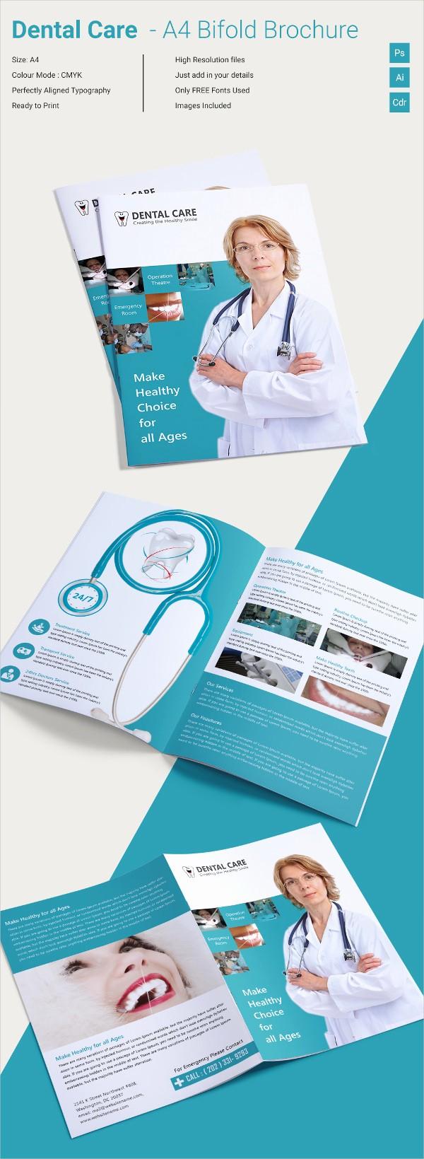 Bi Fold Brochure Templates Free Lovely Superb Dental Care A4 Bi Fold Brochure