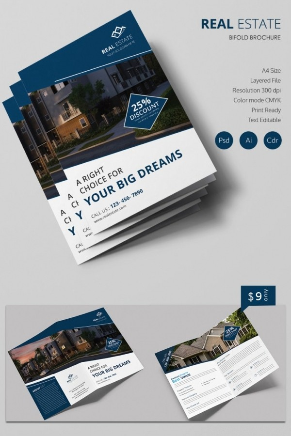 Bi Fold Brochure Templates Free New 16 Real Estate Brochures – Free Psd Eps Word Pdf