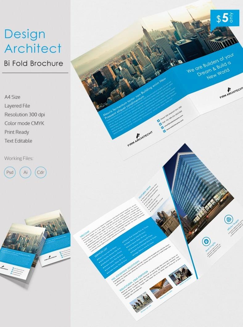 Bi Fold Brochure Templates Free New Creative Design Architect A4 Bi Fold Brochure Template