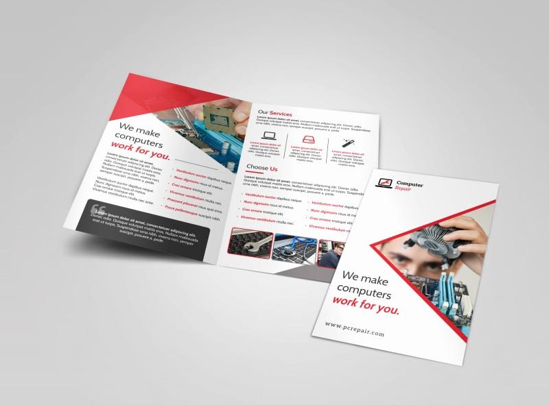 Bi Fold Brochure Templates Free Unique Red Puter Repair Bi Fold Brochure Template