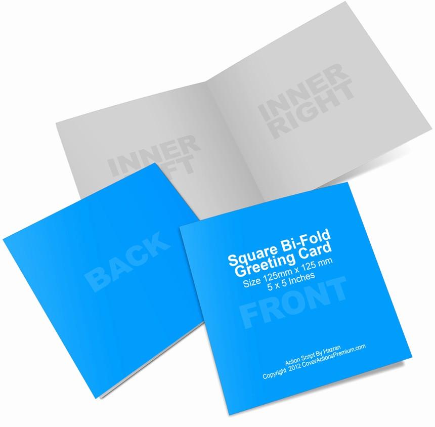 Bi-fold Card Template Elegant Square Bi Fold Greeting Card Mockup