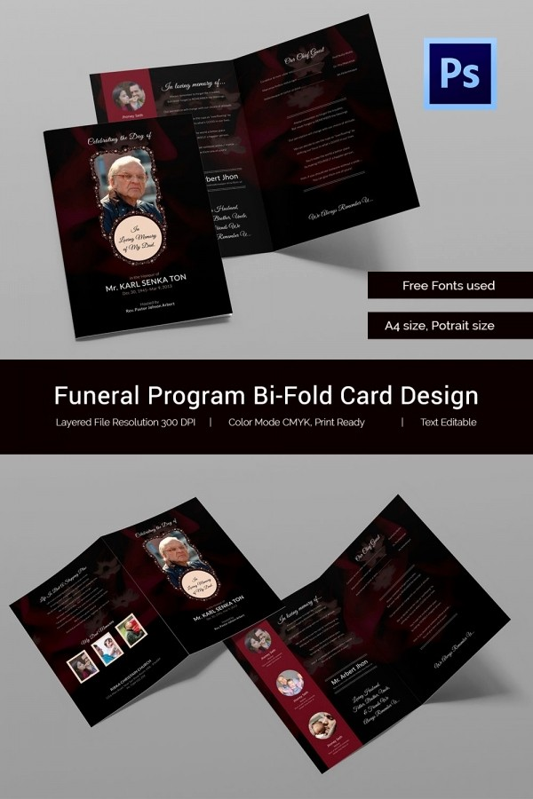 Bi-fold Card Template Lovely 21 Obituary Card Templates – Free Printable Word Excel