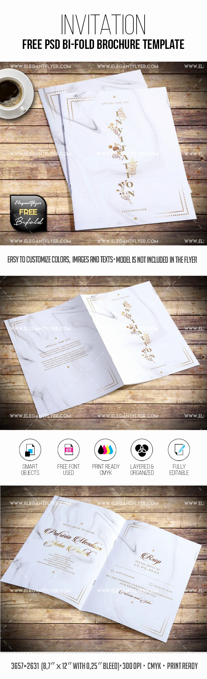 Bi-fold Card Template Lovely Invitation Card – Free Bi Fold Brochure Template – by