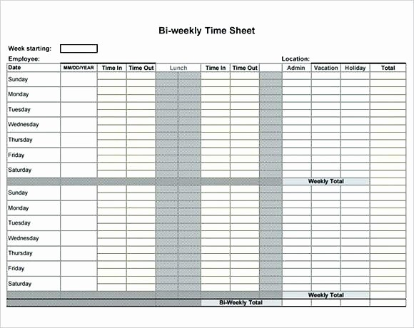 Bi Monthly Timesheet Template Excel Elegant Template Excel Weekly Timesheet Template