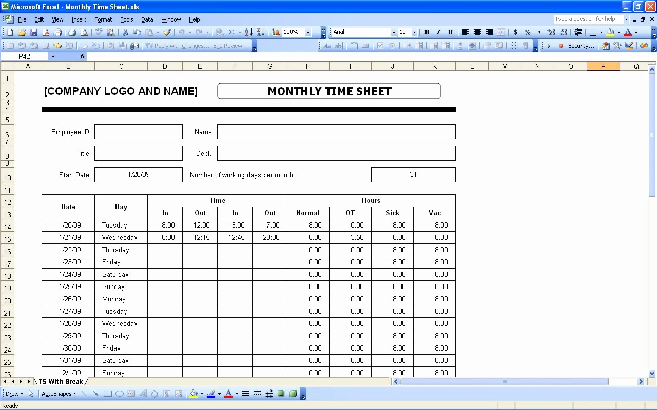 Bi Monthly Timesheet Template Excel Fresh Time Sheets