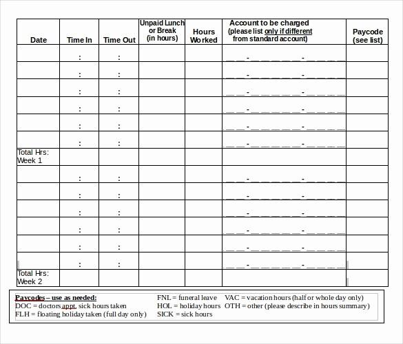 Bi Monthly Timesheet Template Excel New 18 Bi Weekly Timesheet Templates – Free Sample Example