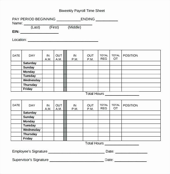 Bi Monthly Timesheet Template Excel New Bi Weekly Template Excel Biweekly Timesheet Free