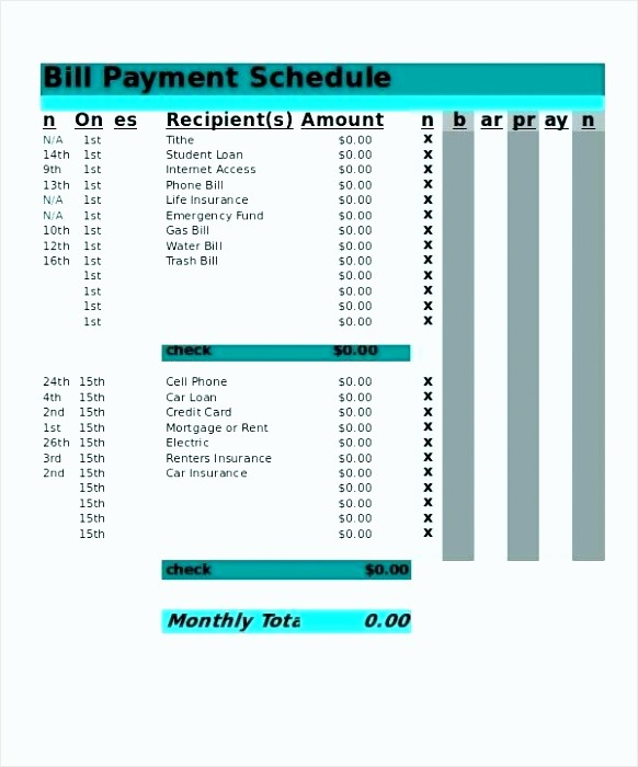 Bi Weekly Bill Pay Template Best Of 9 Payment Schedule Excel Tipstemplatess Tipstemplatess