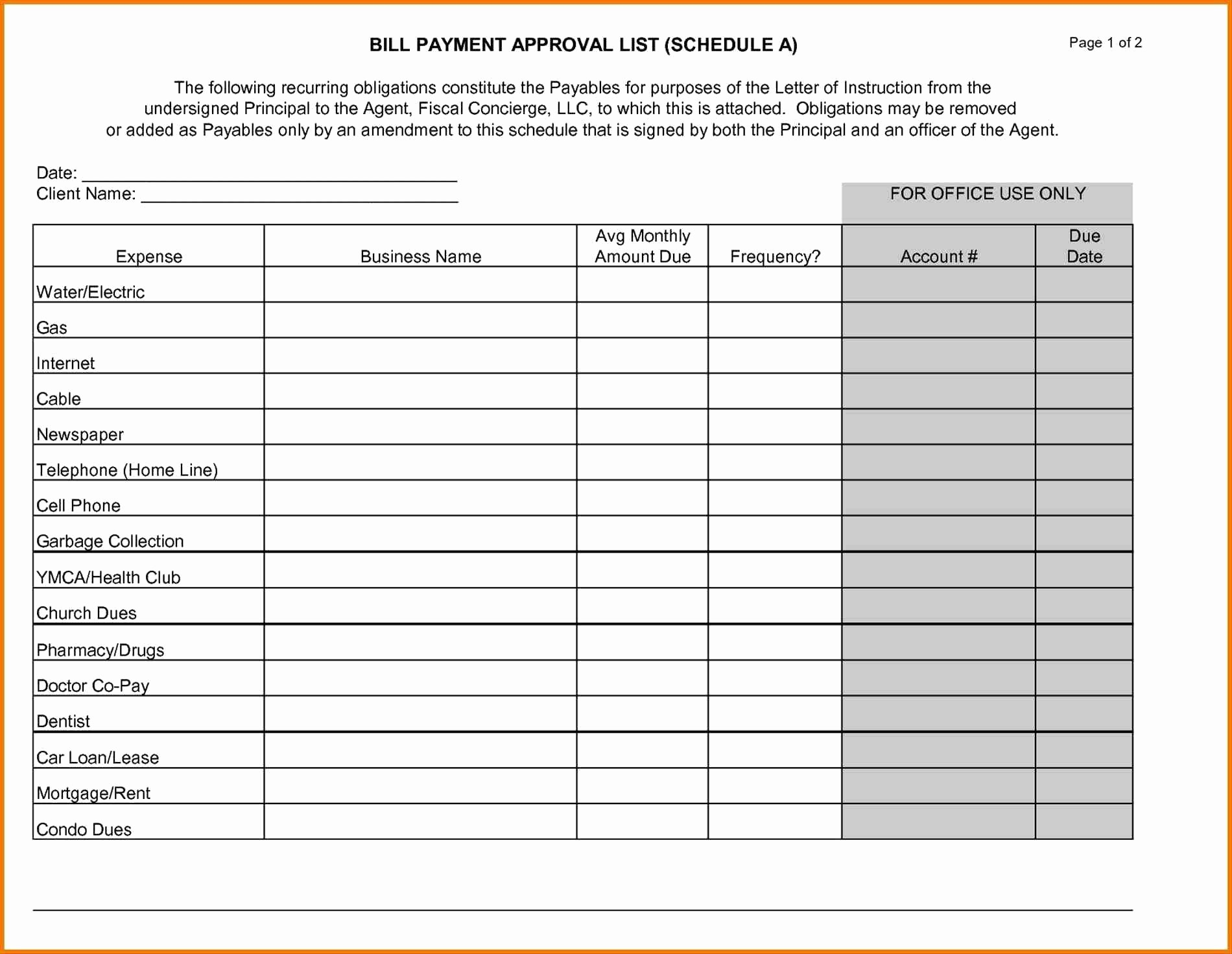 Bi Weekly Bill Pay Template Best Of Bill Payment Schedule Template Sale Weekly Freethly