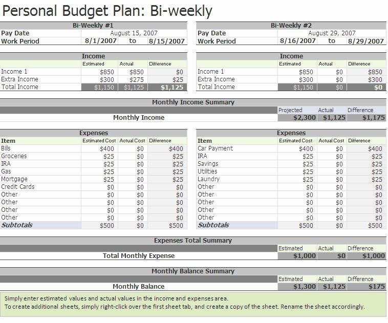 Bi Weekly Bill Pay Template Best Of Free Biweekly Bud Excel Template