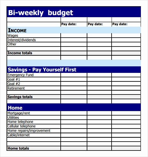 Bi Weekly Bill Pay Template Elegant 9 Sample Bud Templates