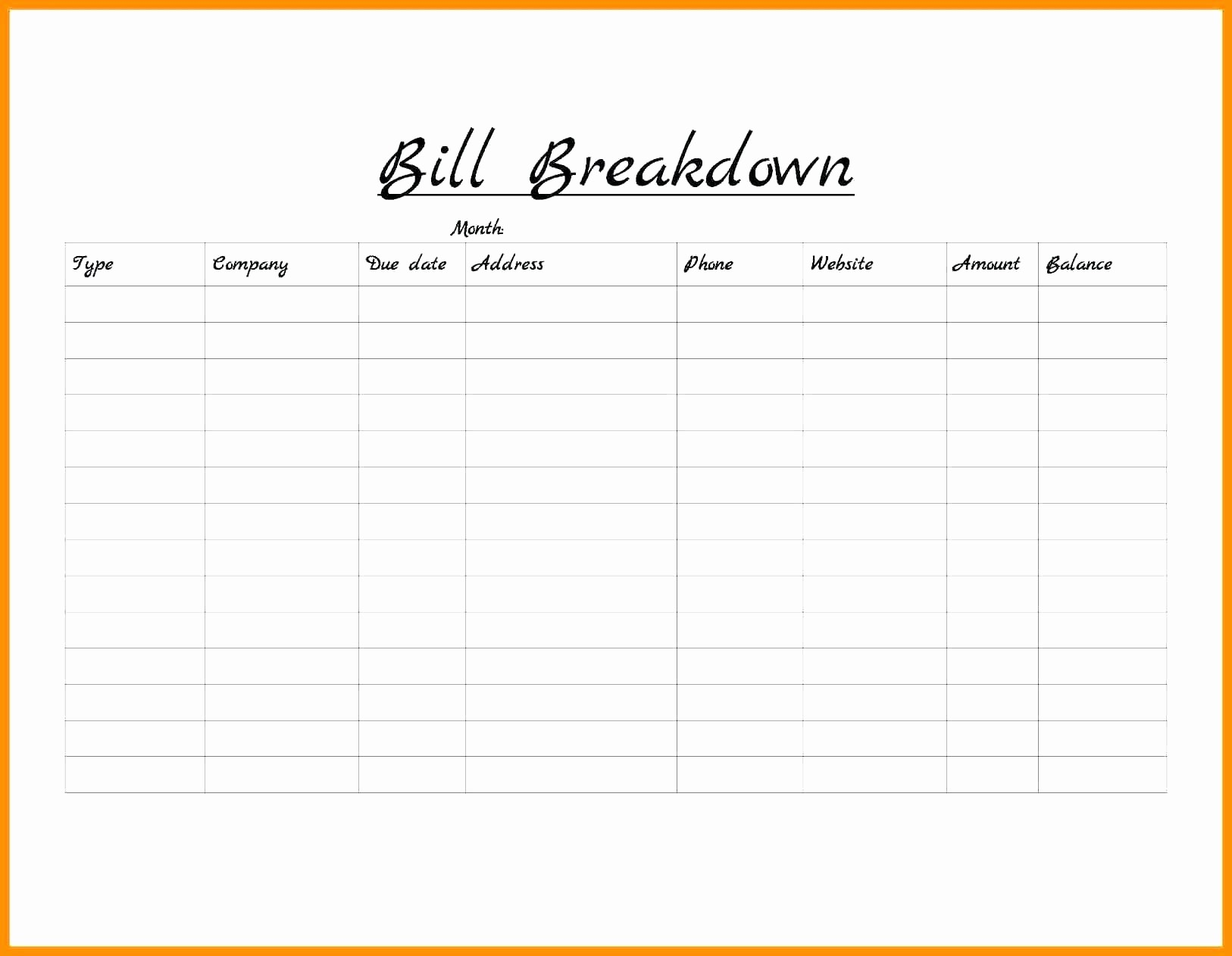 bill payment schedule template excel printable monthly bill payment