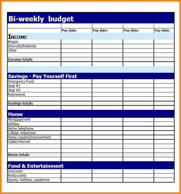 Bi Weekly Bill Pay Template Lovely 6 Bi Weekly Bill Pay Template
