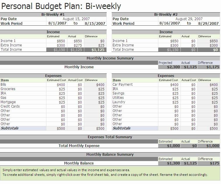 Bi Weekly Bill Pay Template Lovely Biweekly Bud