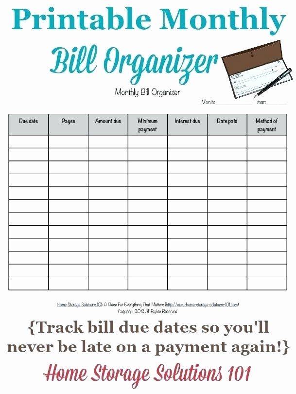 Bi Weekly Bill Pay Template Lovely Template Printable Bill Pay Schedule Payment organizer