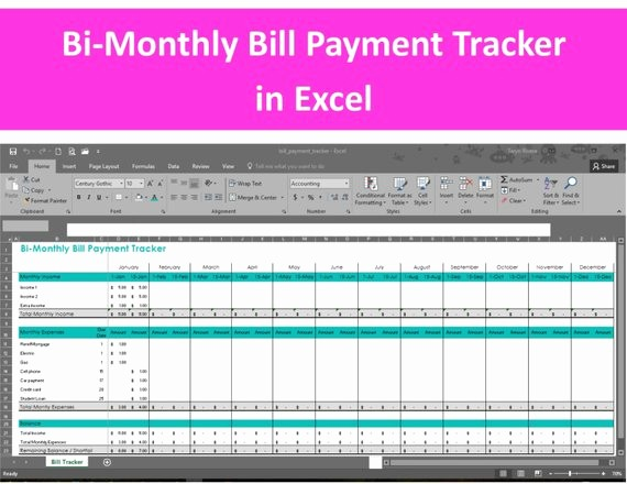 Bi Weekly Bill Pay Template Unique Bi Monthly Bill Payment Tracker Excel Spreadsheet Editable