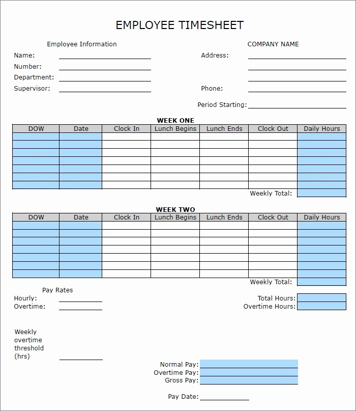 Bi Weekly Employee Timesheet Template Awesome 60 Sample Timesheet Templates Pdf Doc Excel