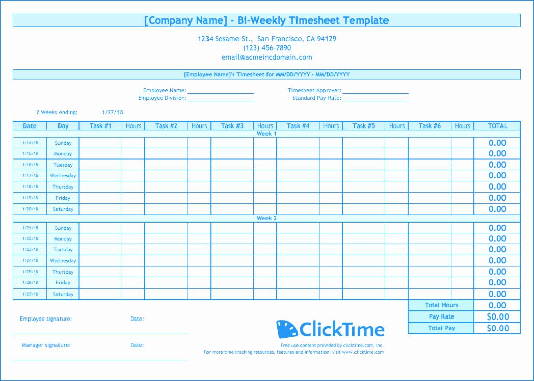 Bi Weekly Employee Timesheet Template Elegant Biweekly Timesheet Template Free Excel Templates