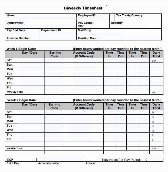 Bi Weekly Employee Timesheet Template Fresh 22 Employee Timesheet Templates – Free Sample Example