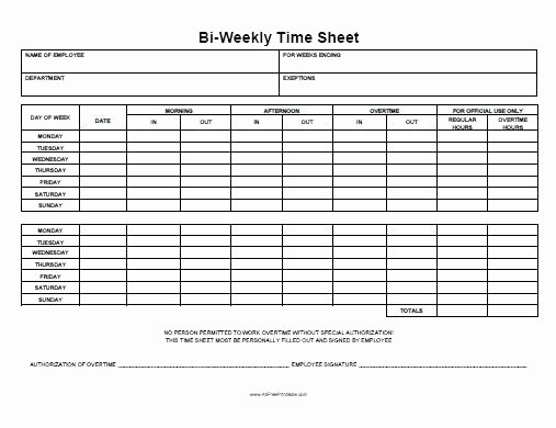 Bi Weekly Employee Timesheet Template Inspirational Printable Time Sheet forms Template Blank Weekly form