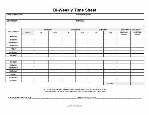 Bi Weekly Employee Timesheet Template Lovely Biweekly Time Sheet Free Printable Allfreeprintable