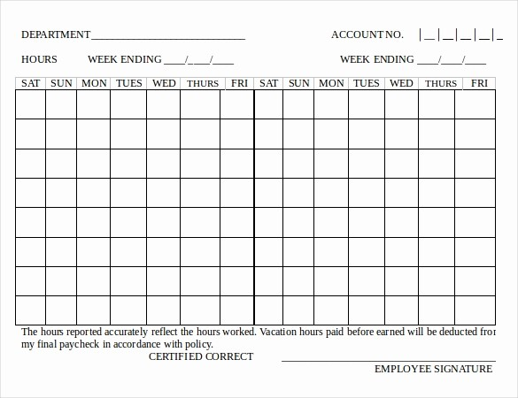 Bi Weekly Employee Timesheet Template Luxury 18 Bi Weekly Timesheet Templates – Free Sample Example
