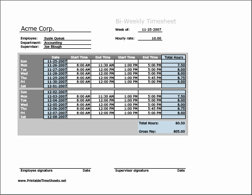 Bi Weekly Employee Timesheet Template Luxury Biweekly Timesheet Horizontal orientation Printable Time