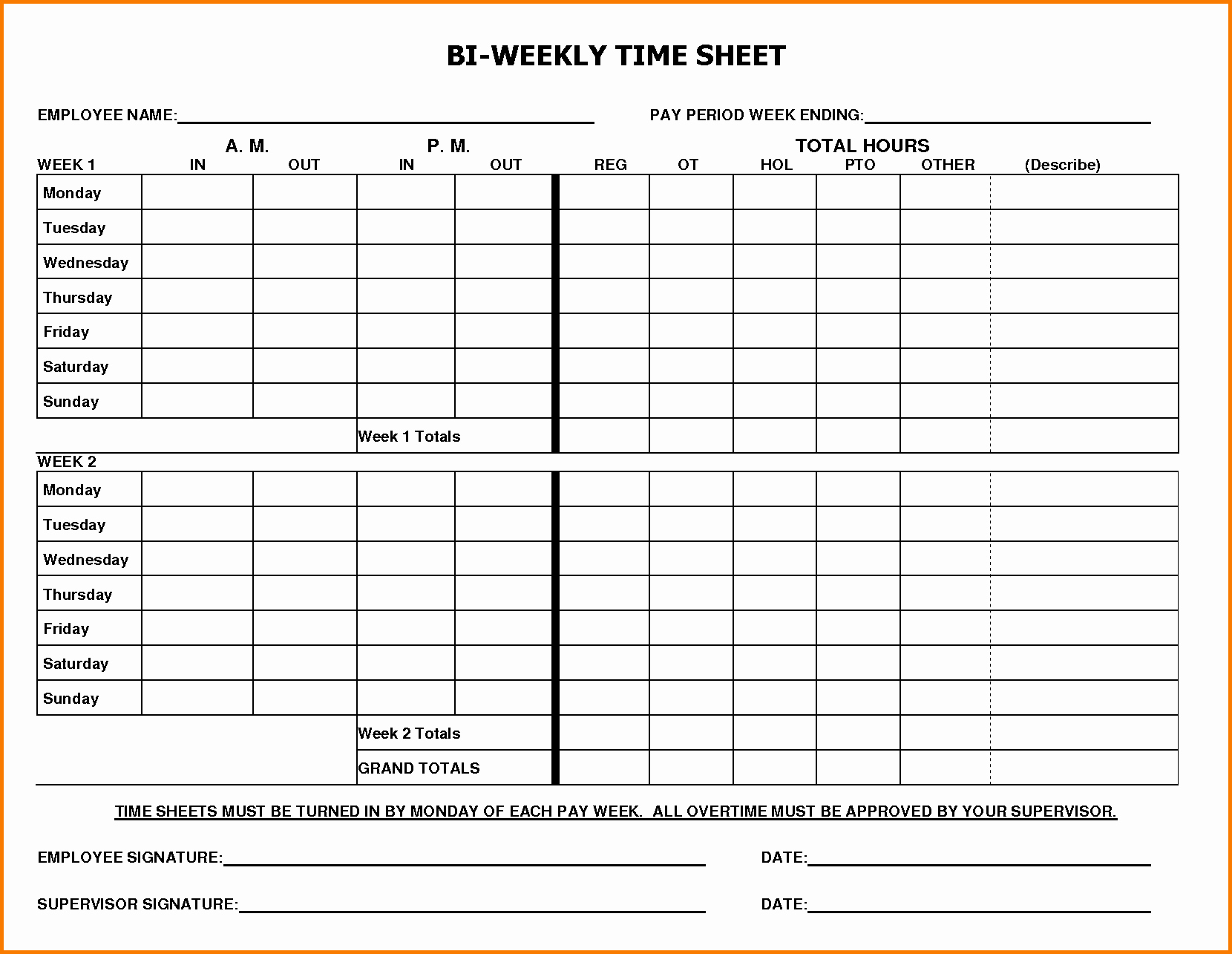Bi Weekly Employee Timesheet Template Unique Weekly Timesheet Template