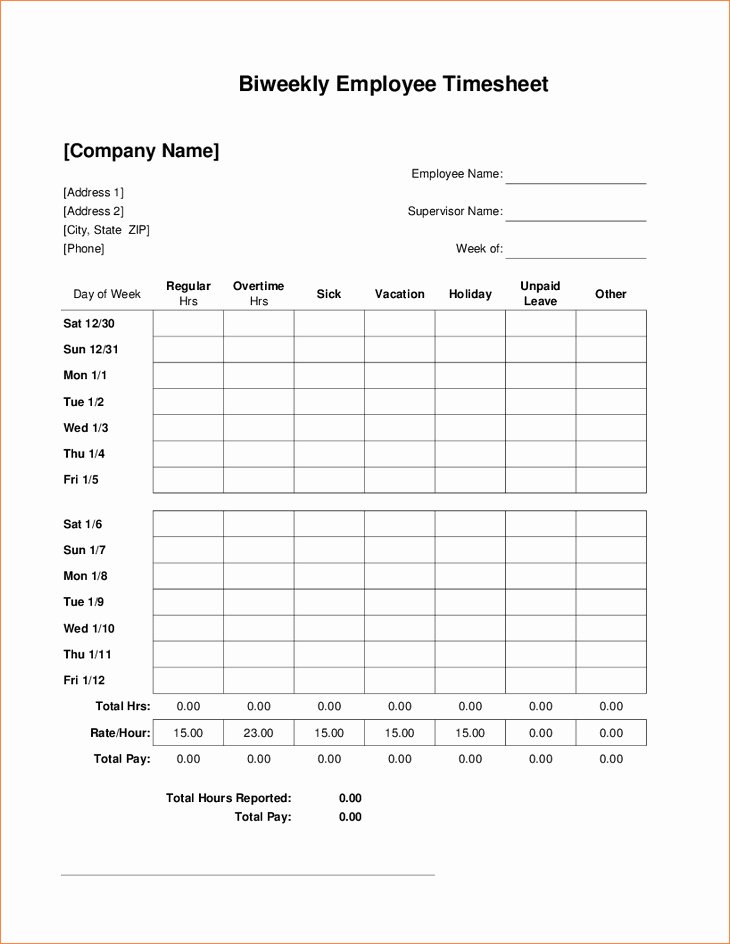 Bi Weekly Timecard with Lunch Awesome 5 Bi Weekly Timesheet Template