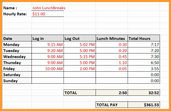 Bi Weekly Timecard with Lunch Beautiful 7 8 Time Card Calculator with Lunch Break