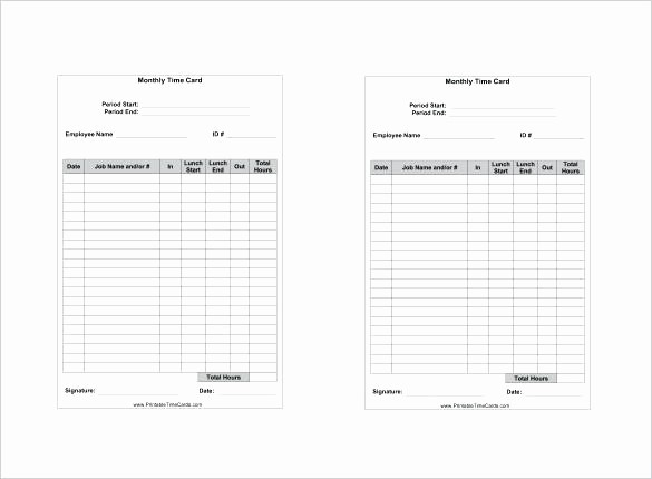 Bi Weekly Timecard with Lunch Beautiful Weekly Timecard Template – Spitznasfo