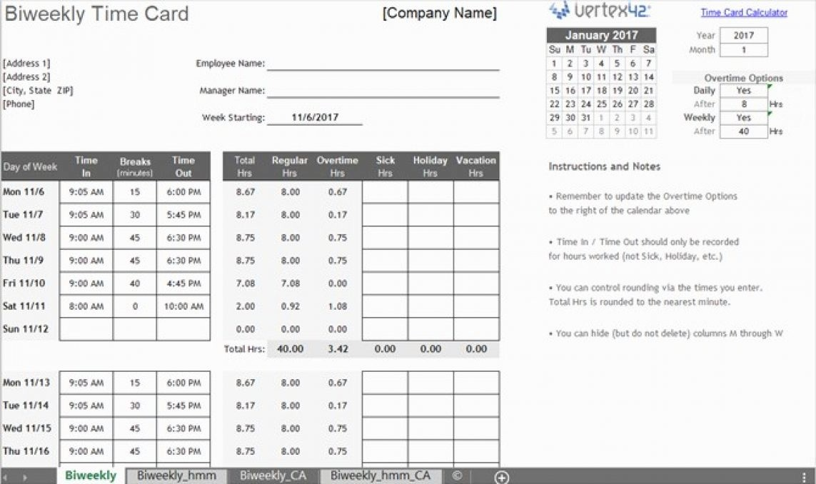 Bi Weekly Timecard with Lunch Best Of Biweekly Timesheet Calculator with Lunch Break Time Card