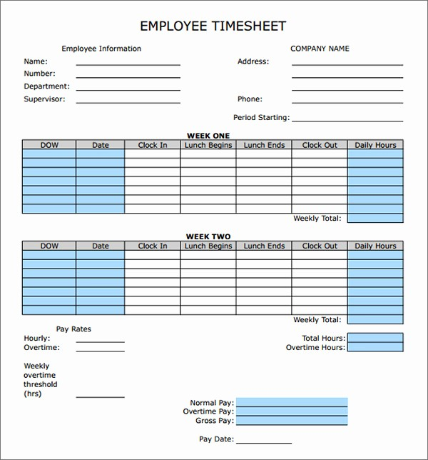 Bi Weekly Timecard with Lunch Best Of Time Sheet Calculator Templates 15 Download Free