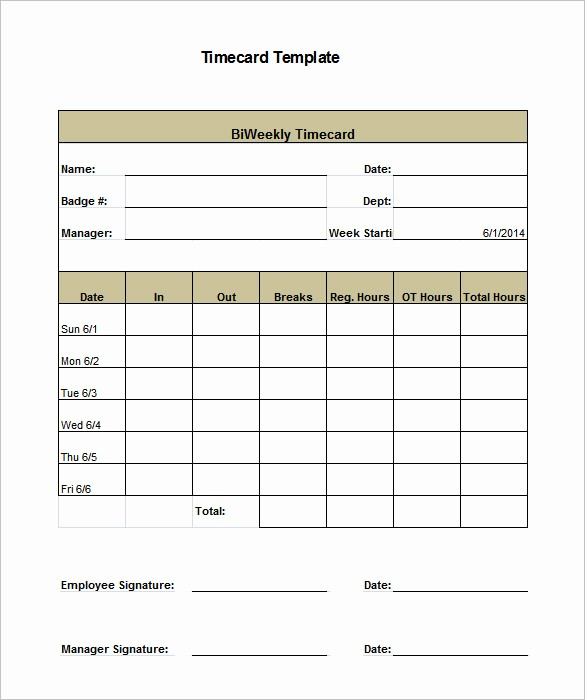 Bi Weekly Timecard with Lunch Elegant 7 Printable Time Card Templates Doc Excel Pdf