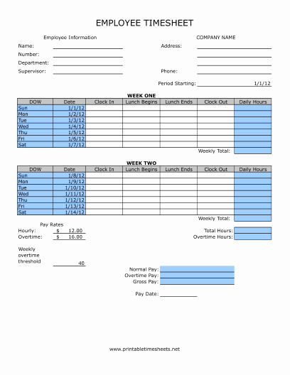 Bi Weekly Timecard with Lunch Elegant Timesheet with Lunch Printable Time Sheet